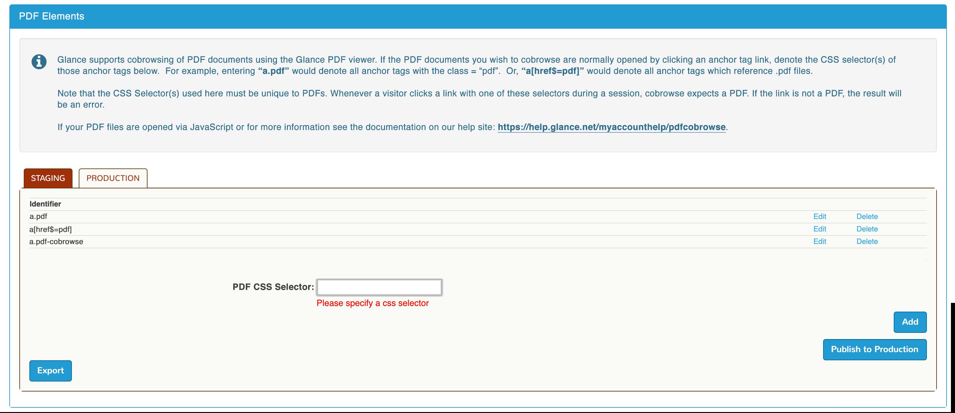 PDF Selector UI.